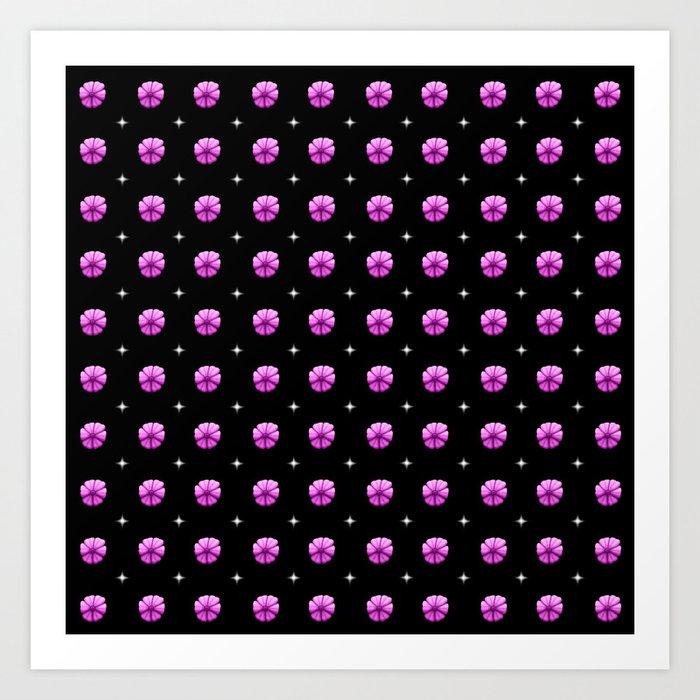 White stars purple flowers grid Art Print