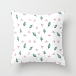 Girly Watercolor Pink Flowers Teal Blue Green Leaves Throw Pillow