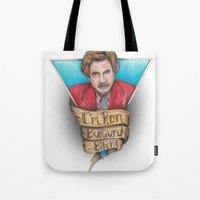 anchorman Tote Bags featuring Anchorman by Tiffany London