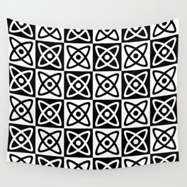 Mid Century Modern Atomic Check 138 Black and White Wall Tapestry