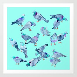 Flock of Pigeons (Blue) Art Print