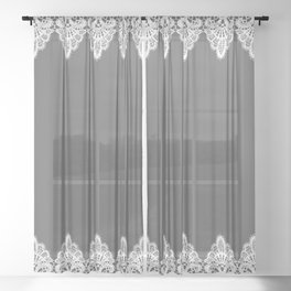 White Vintage Lace Gray Background Sheer Curtain