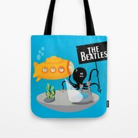 yellow submarine Tote Bags featuring Yellow Submarine by Ewan Arnolda