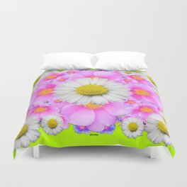 Chartreuse Green Color Shasta Daisies & Rose Pattern Duvet Cover