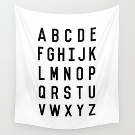 Black and White Typography Alphabet Design Poster with Monochrome Minimalist Letters Home Decor Wall Tapestry