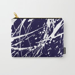 Modern navy blue white watercolor paint splatters Carry-All Pouch