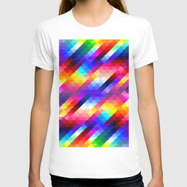 Abstract Colorful Decorative Squares Pattern T-shirt