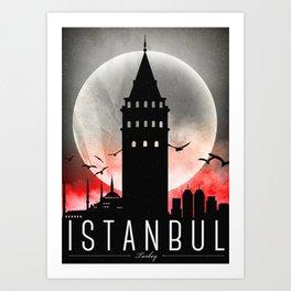 Black-White Galata Tower Istanbul Art Print