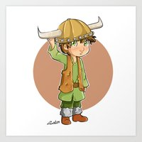 hiccup Art Prints featuring chibi hiccup by theginga15