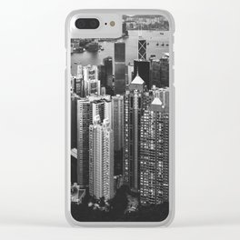 Hong Kong in Black & White Clear iPhone Case