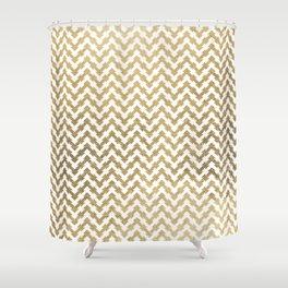 Elegant modern geometrical faux gold chevron pattern Shower Curtain