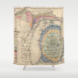 Vintage Michigan Geology Map (1873) Shower Curtain