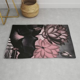 Millennial Pink Slate Gray Temple of Flora Rug