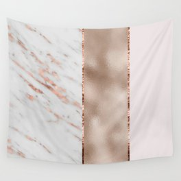 Rose metallic striping - marble and blush Wall Tapestry