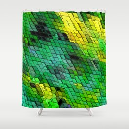 Abstract Green and Yellow Tile design Shower Curtain