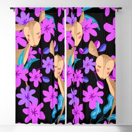 Cute little baby deer fawns lost in the forest of delicate pink flowers illustration. Animals. Blackout Curtain