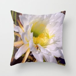 """""""Cactus Flower And Friend #1"""" Photograph Throw Pillow"""