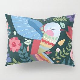 Folk Art Inspired Hummingbird With A Flurry Of Flowers Pillow Sham