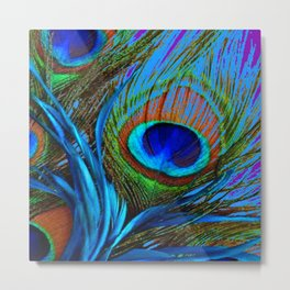 FLOWING BABY BLUE PEACOCK FEATHERS ART Metal Print