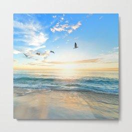 Blue Sky with Birds Metal Print