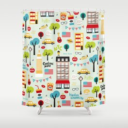 Fun New York City Manhattan travel icons life hipster pattern Shower Curtain