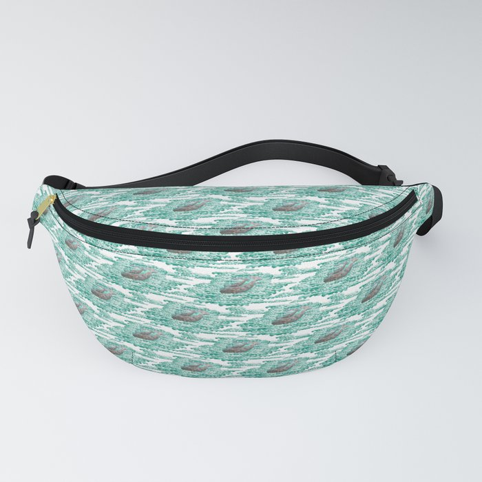 Mama + Baby Gray Whale in Ocean Clouds Fanny Pack