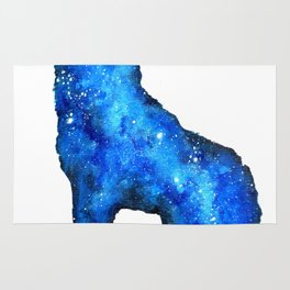 Howling Wolf | Space Wolf | Double Exposure Wolf | Wolf Painting | Blue Wolf Rug