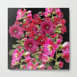 WESTERN  PINK HOLLYHOCKS PATTERNED ART Metal Print