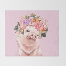 Baby Pig with Flowers Crown Throw Blanket