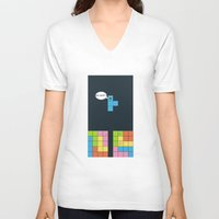 tetris V-neck T-shirts featuring Tetris by sEndro