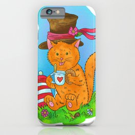 The ginger cat is drinking tea. iPhone Case