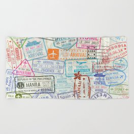Vintage World Map with Passport Stamps Beach Towel
