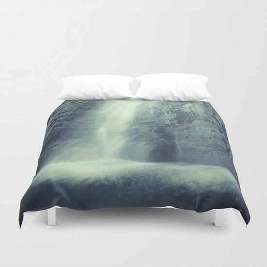 """Waterfall at the mountains"". Retro series Duvet Cover"