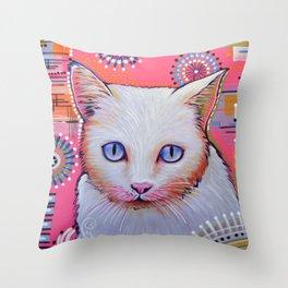 Slinky...Abstract cat art Throw Pillow