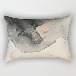 Peace and Quiet [2]: a pretty, minimal abstract piece in gray and peach by Alyssa Hamilton Art Rectangular Pillow