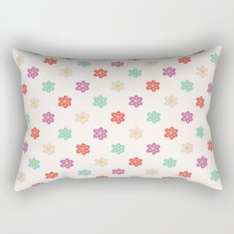 Abstract ivory teal orange violet cute floral Rectangular Pillow