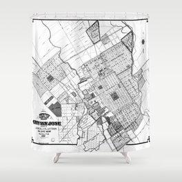 Vintage Map of San Jose California (1886) BW Shower Curtain