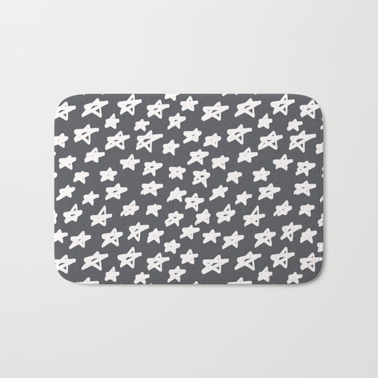 Stars on grey background Bath Mat