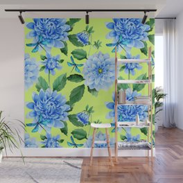 Modern blue lime punch watercolor dahlia floral pattern Wall Mural