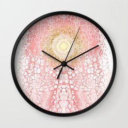 Chakra Sun River - Living Coral Fluid Glitter Wall Clock