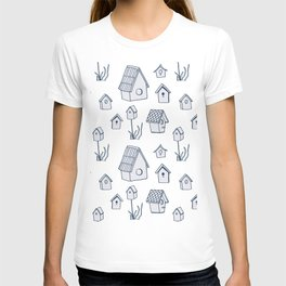 Bird House Drawings, Pattern T-shirt