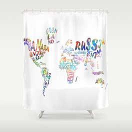 world map watercolor typography 1 Shower Curtain