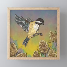 Coal Tit and Teasels Framed Mini Art Print