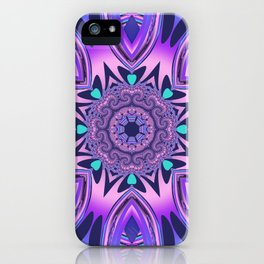 The floral kaleidoscope in pink, purple, blue and turquoise iPhone Case