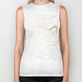 White on Yellow Gold London Street Map Biker Tank