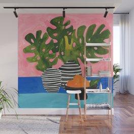 Pink Wall Monstera Wall Mural