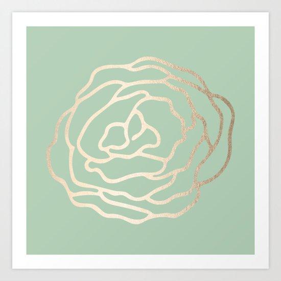 Rose White Gold Sands on Pastel Cactus Green Art Print