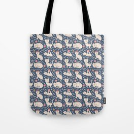 Cute pink brown blue hand painted floral cats Tote Bag