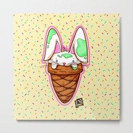 Ice Bunny Metal Print