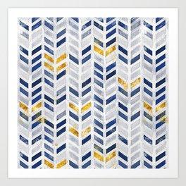 2019 Herringbone Chevron Pattern Indigo Blue Faux Gold Art Print